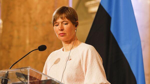 Президент Эстонской Республики Керсти Кальюлайд во время пресс-конференции в Вене, Австрия - Sputnik Česká republika
