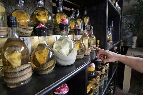 Láhve hadího vína v restauraci na předměstí Hanoje - Sputnik Česká republika