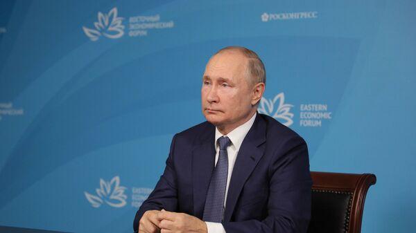 Президент России Владимир Путин на встрече в формате видеоконференции с модераторами и спикерами сессий Восточного экономического форума  - Sputnik Česká republika
