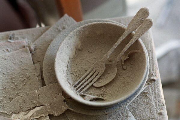 Prach a nečistoty pokrývají nádobí a stříbro na stole v bytě v Battery Park City v neděli 23. září 2001 v New Yorku - Sputnik Česká republika