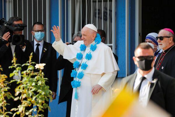 Papež František při návštěvě Betlémského centra v Bratislavě na Slovensku - Sputnik Česká republika