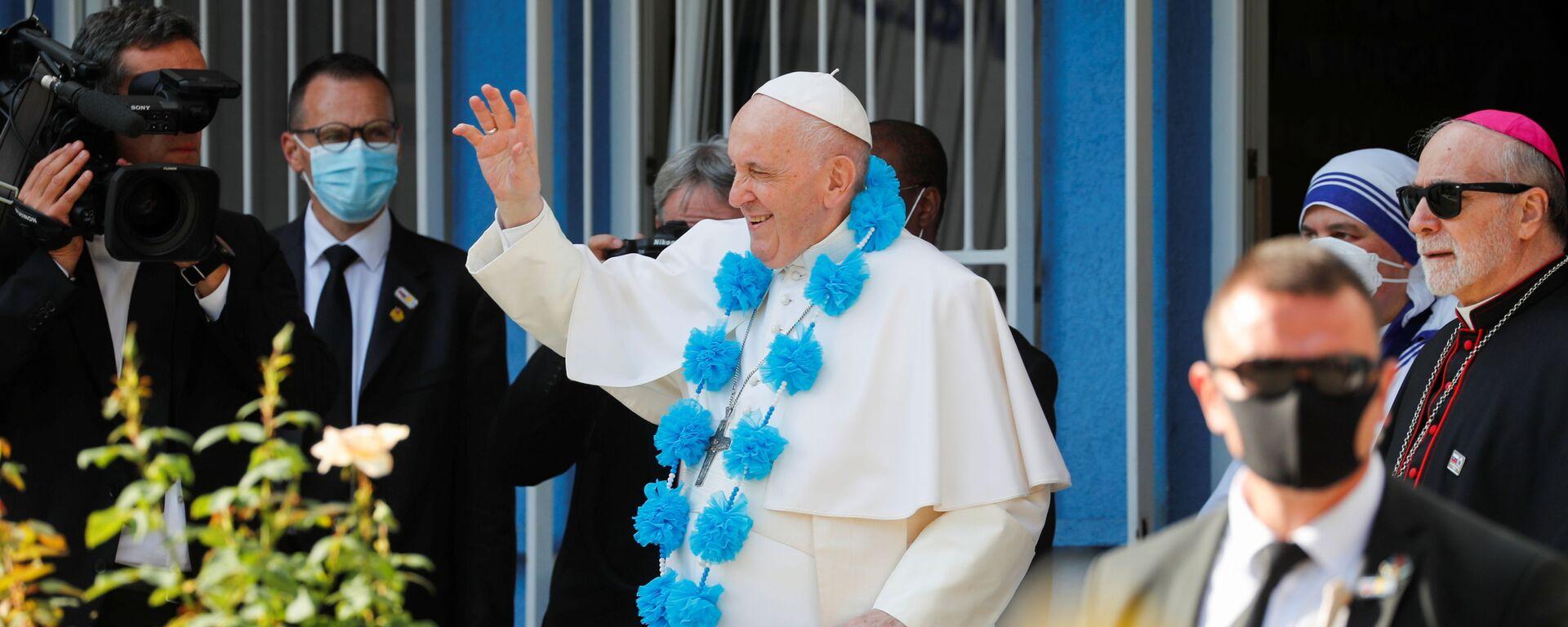 Papež František při návštěvě Betlémského centra v Bratislavě na Slovensku - Sputnik Česká republika, 1920, 14.09.2021