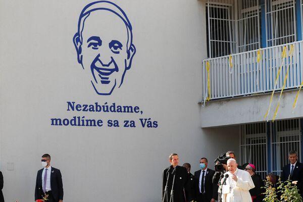 Papež František hovoří během návštěvy Betlémského centra v Bratislavě - Sputnik Česká republika