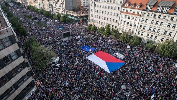 Demonstrace na pražském Václavském náměstí v úterý 21. května 2019. Ilustrační foto - Sputnik Česká republika