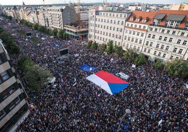 Demonstrace na pražském Václavském náměstí v úterý 21. května 2019