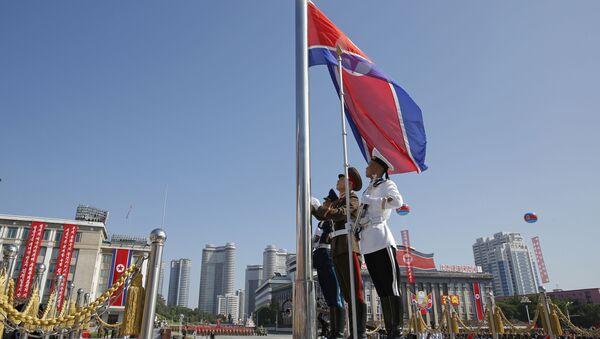 Severokorejská vlajka v Pchjongjangu - Sputnik Česká republika