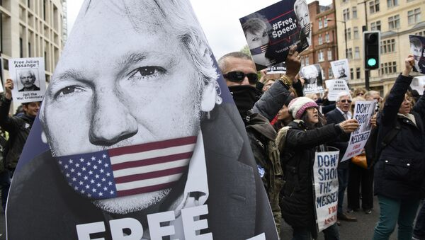 Akce na podporu Juliana Assange v Londýně - Sputnik Česká republika