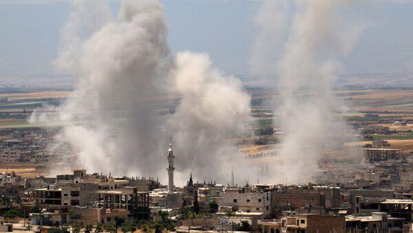 Bombardování pozic teroristů syrskou armádou v Idlibu (dne 29. května 2019). - Sputnik Česká republika
