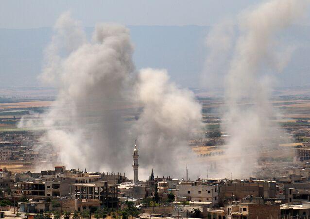 Bombardování pozic teroristů syrskou armádou v Idlibu (dne 29. května 2019).
