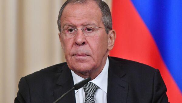 Ruský ministr zahraničí Sergej Lavrov na tiskové konferenci - Sputnik Česká republika