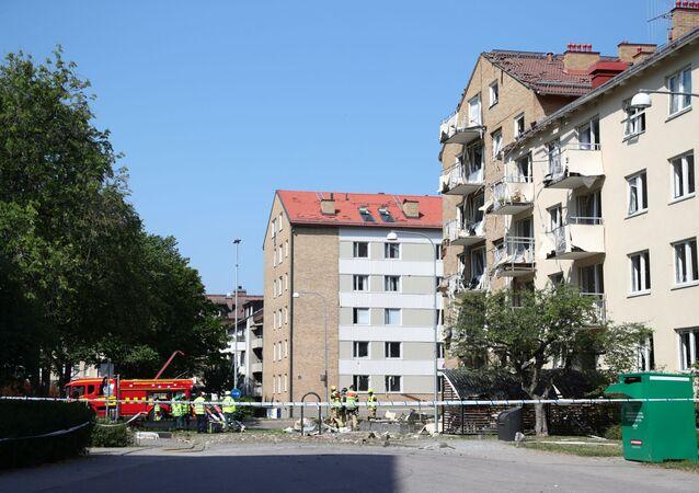 Místo výbuchu ve švédském Linköpingu
