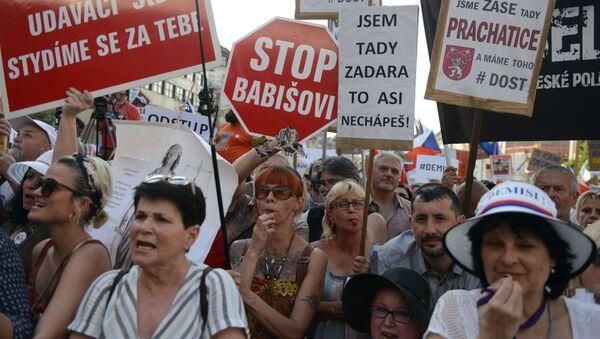 Protest proti premiérovi ČR Andreji Babišovi na Václvaském náměstí - Sputnik Česká republika