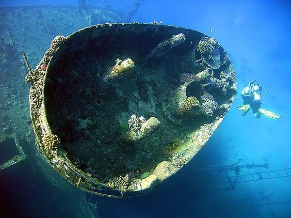 Loď Giannis D., která se potopila na útesu Abu Nuhas v Rudém moři. - Sputnik Česká republika
