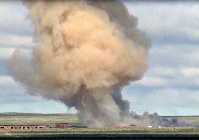 Odpálení nové rakety na polygonu Sary-Šagan v Kazachstánu v roce 2019. Ilustrační foto