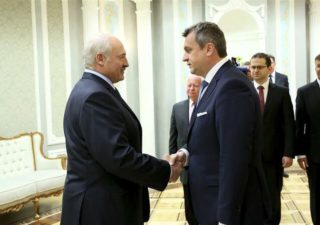 Předseda Národní rady Slovenské republiky Andrej Danko a prezident Běloruska Alexandr Lukašenko 4. června 2019