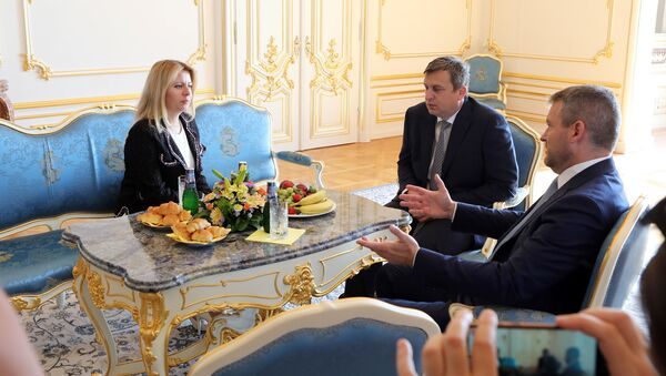 Prezidentka Slovenska Zuzana Čaputová, premiér Peter Pelligrini a předseda parlamentu Andrej Danko - Sputnik Česká republika