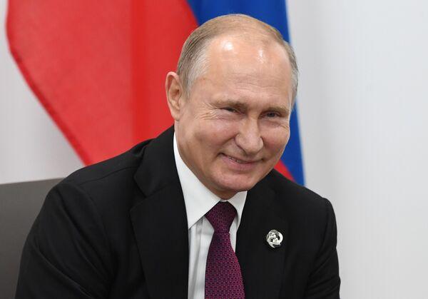 Ruský prezident Vladmir Putin na schůzce se svým americkým protějškem Donaldem Trumpem. - Sputnik Česká republika