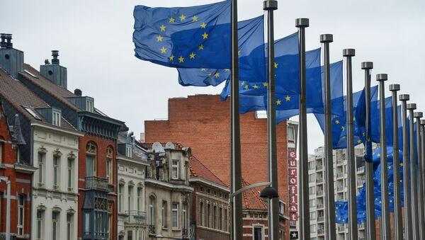 Vlajky EU vedle budovy EK v Bruselu - Sputnik Česká republika