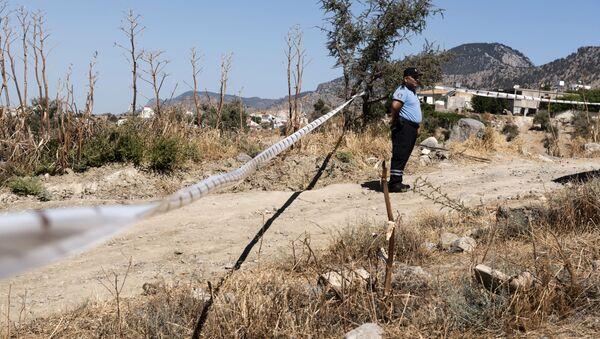 Policie vedle místa pádu neznámého objektu na Severním Kypru - Sputnik Česká republika
