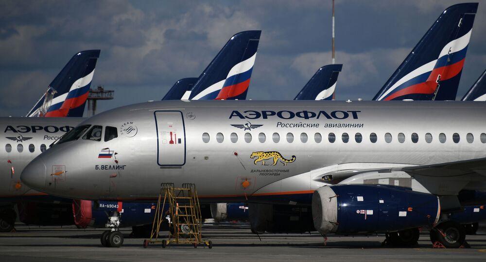 Sukhoi Superjet 100 na letišti Šeremeťjevo v Moskvě. Ilustrační foto