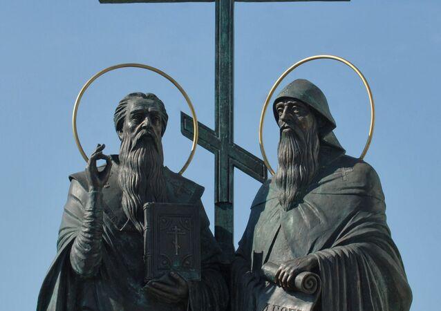 Cyril a Metoděj. Pomník v ruské Kolomně