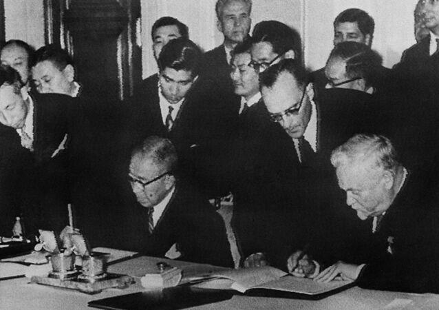 Podepsání Společné deklarace mezi SSSR a Japonskem 19. října 1956