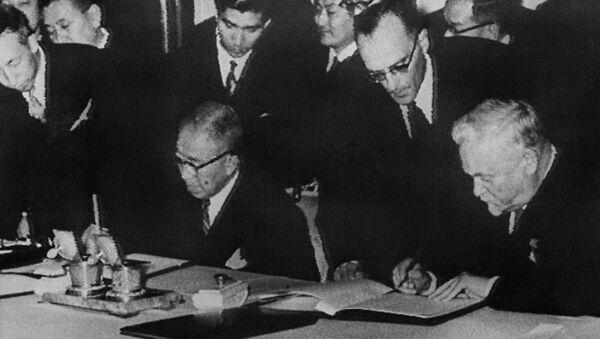 Podepsání Společné deklarace mezi SSSR a Japonskem 19. října 1956  - Sputnik Česká republika