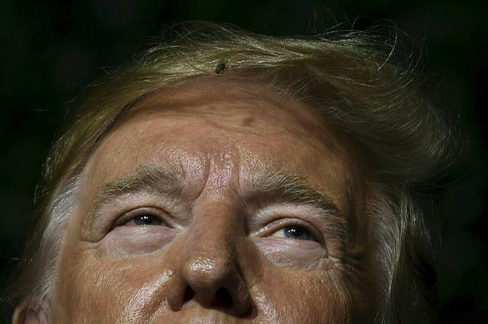 Moucha ve vlasech amerického prezidenta Donalda Trumpa během jeho vystoupení v Jamestownu ve Virginii.