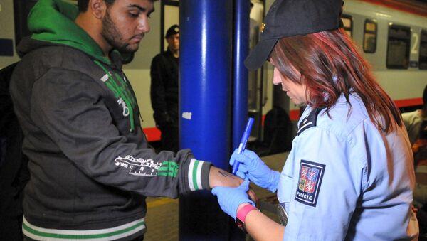 Příslušníci české policie používali fixy, s jejichž pomocí napsali čísla na rukou 214 migrantů  - Sputnik Česká republika