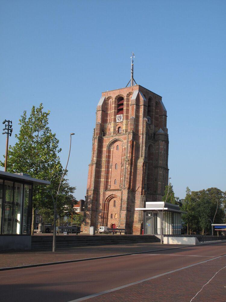 Věž De Oldehove, město Leeuwarden, Nizozemsko