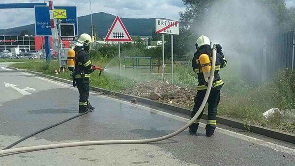 Zásah slovenský hasičů při úniku plynu na východním Slovensku v obci Rožňava - Sputnik Česká republika