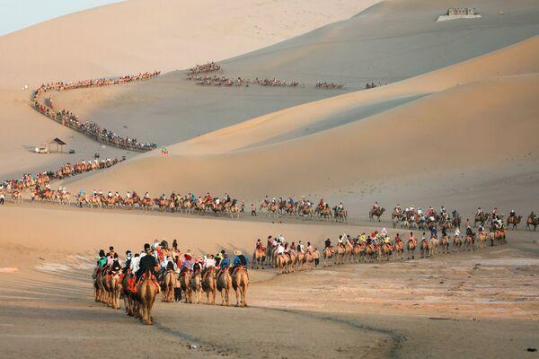 Turisté na velbloudech v poušti v Dunhuangu, Čína. - Sputnik Česká republika