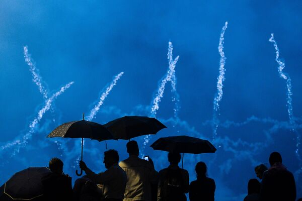 Ohňostroje na mezinárodním festivalu Rostěсh v Moskvě. - Sputnik Česká republika