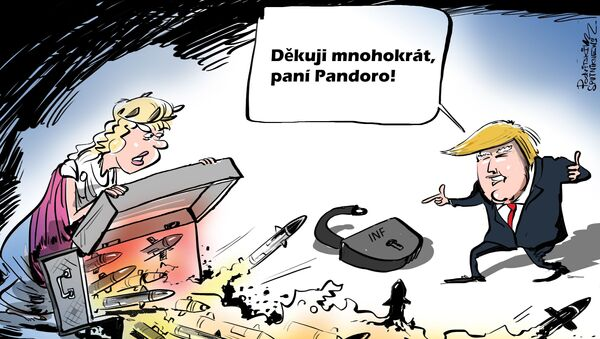 Karikatura USA otevírají Pandořinu skříňku - Sputnik Česká republika
