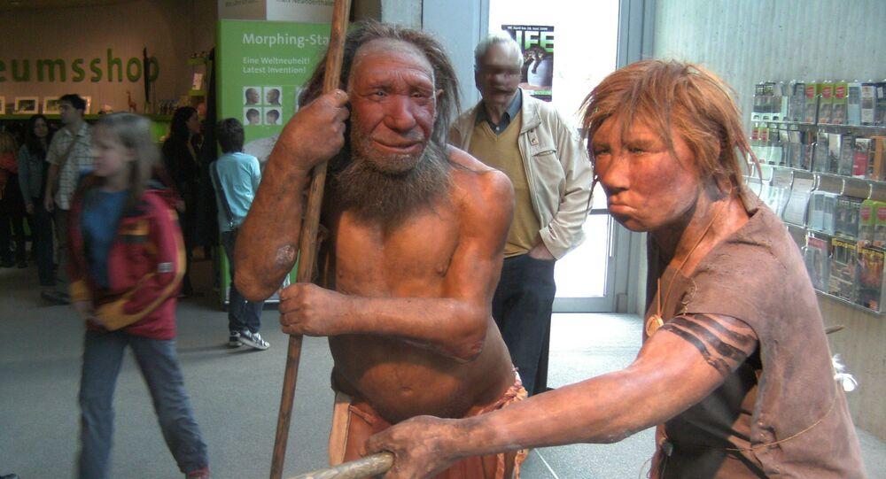 Model neandertálců (Muzeum Neanderthal, Německo)