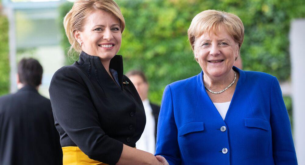Slovenská prezidentka s německou kancléřkou Angelou Merkelovou, 21. srpna 2019