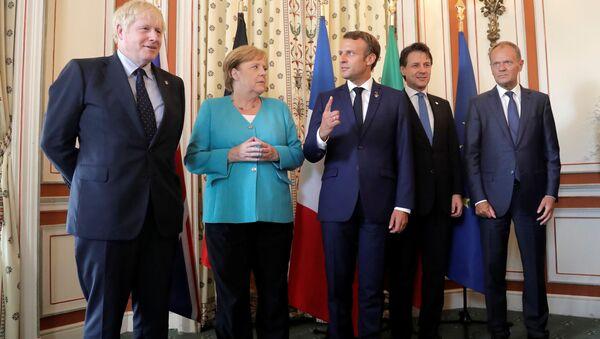 Lídři G7 Boris Johnson, Angela Merkel, Emmanuel Macron, Giuseppe Conte a Donald Tusk - Sputnik Česká republika