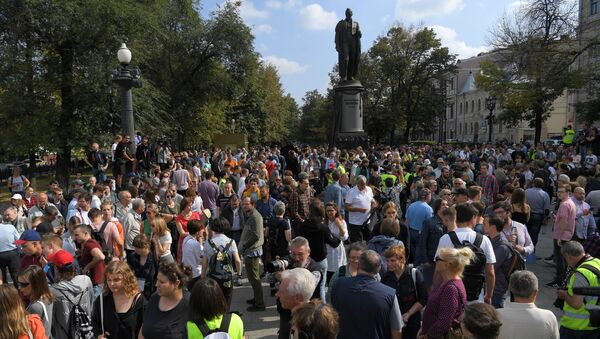 Neschválené protesty v centru Moskvy - Sputnik Česká republika