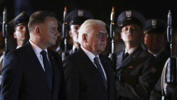 Prezidenti Polska a Německa Andrzej Duda a Frank-Walter Steinmeier ve městě Wieluń u Lodže uctívají památku obětí německé agrese při příležitosti 80. výročí začátku 2. světové války (1. září 2019) - Sputnik Česká republika