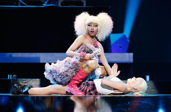Zpěvačka Nicki Minaj na pódiu během hudebního festivalu iHeartRadio v Las Vegas. - Sputnik Česká republika