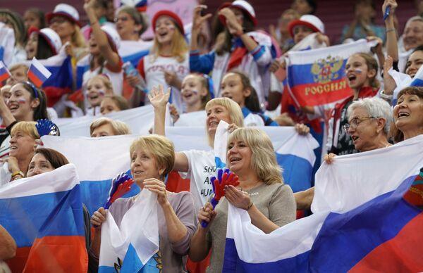 Fanoušci ruského týmu na mistrovství světa v moderní gymnastice v Baku. - Sputnik Česká republika