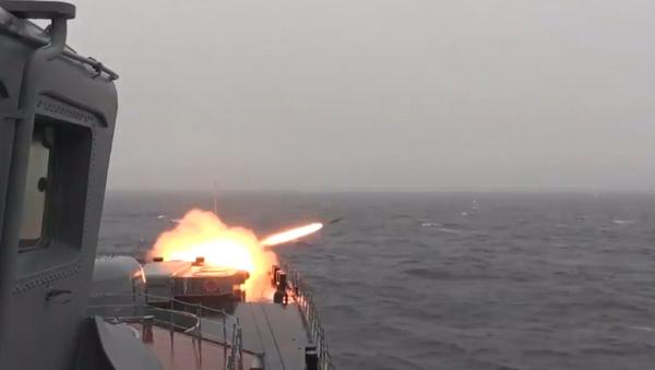 Střelby námořního dělostřelectva a vypuštění protiponorkových a protiradarových raket - Sputnik Česká republika