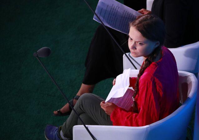 Švédská aktivista Greta Thunbergová na klimatickém summitu OSN