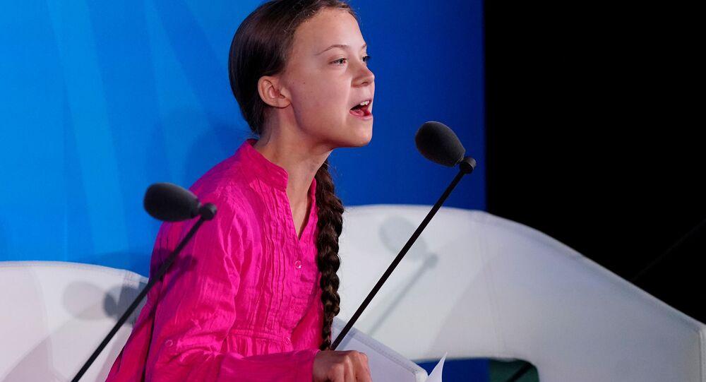 Švédská školačka Greta Thunbergová na klimatickém summitu OSN v New Yorku