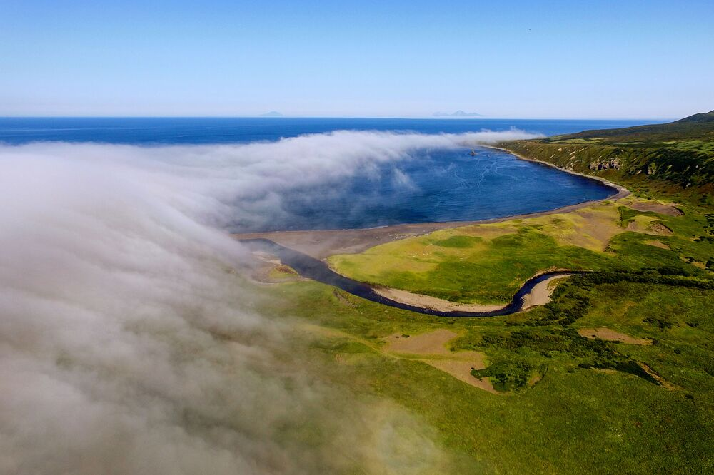 Novokurilský záliv na ostrově Urup