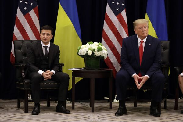 Ukrajinský prezident Vladimir Zelensky na setkání s prezidentem USA Donaldem Trumpem v New Yorku - Sputnik Česká republika