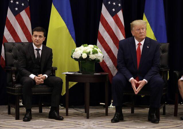 Ukrajinský prezident Volodymyr Zelenskyj a americký prezident Donald Trump v New Yorku