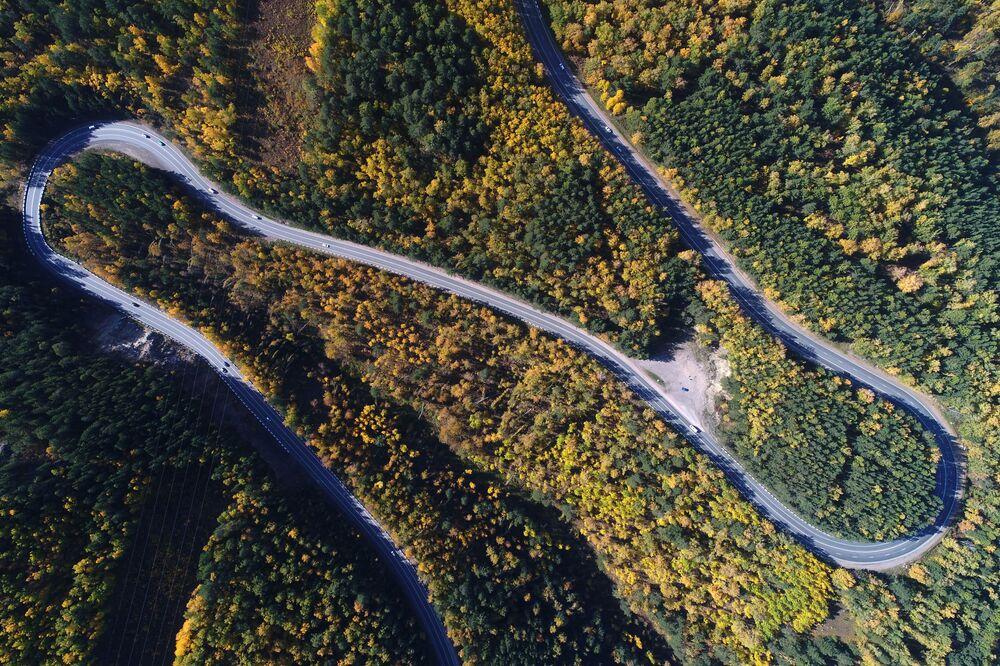 Federální dálnice P257 Jenisej v blízkosti Krasnojarsku