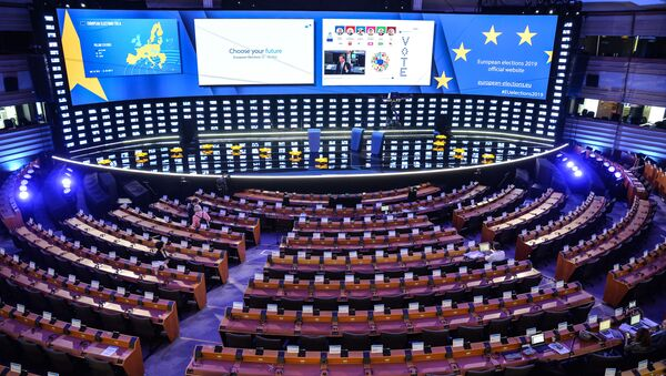 Zasedací místnost v Sídle evropského Parlamentu v Bruselu - Sputnik Česká republika