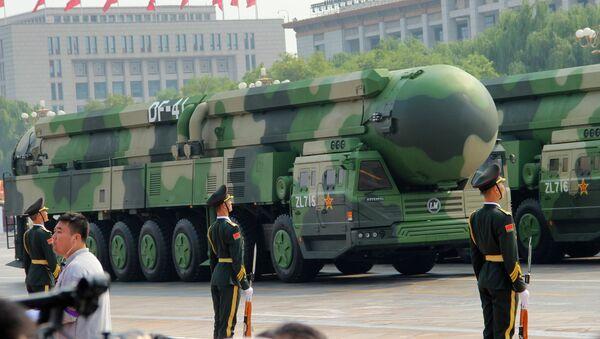 Mezikontinentální balistické rakety DF-41 na vojenské přehlídce v Pekingu, konané u příležitosti 70. výročí založení Číny - Sputnik Česká republika